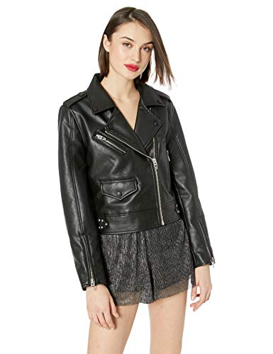 [BLANKNYC] Women's Vegan Leather Moto Jacket Outerwear, Going in Circles, L ()