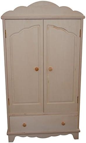 Armario muñecas. En madera de chopo, en crudo. Para decorar. Medidas (ancho/fondo/alto): 40 * 20 * 76 cms. Interior: 2 baldas y barra de colgar. Incluye 4 perchas.: Amazon.es: Hogar