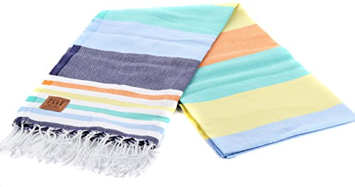 Gold Case OLYMPOS 100% Cotton pestemal - Bath & Beach Multi Purpose Turkish Towel/Throw - 39x70(100x180cm) Peshtemal, Multicolored