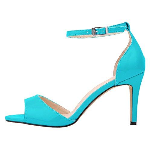 HooH Women's Peep Toe Ankle Strap Stiletto Sandals Blue hBBKN