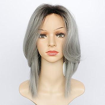 ligaosheng Pelucas sintéticas Ondulado Natural Corte a Capas con Flequillo Raíces oscuras Pelo Ombre Gris Mujer