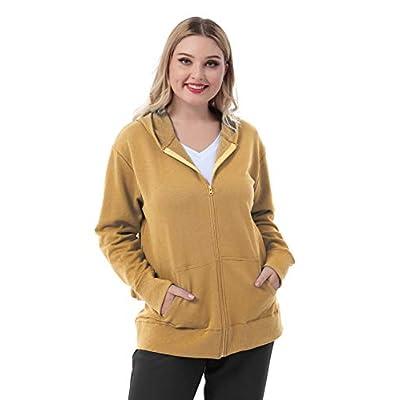 ZERDOCEAN Women's Plus Size Full Zip-Up Hoodie Jacket Cotton Sweatshirt at Women's Clothing store
