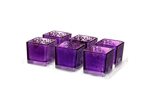 V-More Romantic Small Square Cube Mercury Glass Candle Holder, Votive Candle Holder, Tealight Holder, 2-inch Tall, For Home Decor, Wedding, Party, Celebration (Set of 6, Purple) (Candle Colorful Holders)