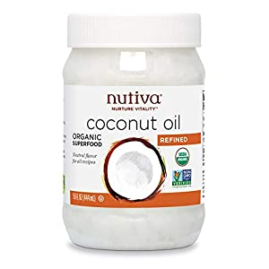 Gut Health Shop 419eaghOFSL._SS300_ Nutiva Organic Steam-Refined Coconut Oil, 15 Fluid Ounce