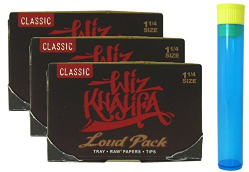 Wiz Khalifa Rolling Papers - Loud Pack 1 1/4 with Built in Tray, Tips and Poker - 3 Packs + Beamer Doob - Khalifa Wiz Glass