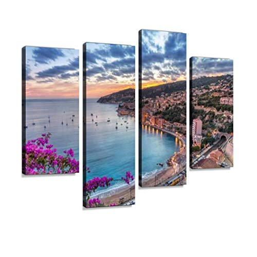 (Aerial View of Villefranche-sur-Mer on Sunset, France Canvas Wall Art Hanging Paintings Modern Artwork Abstract Picture Prints Home Decoration Gift Unique Designed Framed 4 Panel)