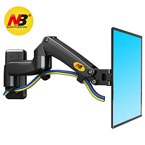 NB North Bayou TV Monitor Wall Mount Bracket Full Motion Articulating Swivel for 17-27 Inch Monitor with Gas Spring (Black Double Extension) F150-B