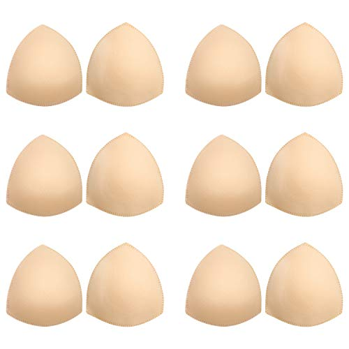 Bra Pads Inserts 6 Pairs, Bra Cups Inserts, Removable Breast Enhancers Inserts for Women (Beige)
