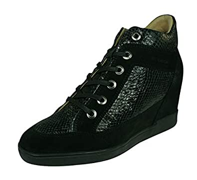 GEOX D Carum C Womens Leather Wedge Sneakers/Boots-Black-7