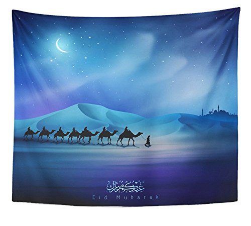 Emvency Tapestry Eid Mubarak Night Arabian and Camel on Desert Wall Hanging Polyester Fabric For Bedroom Living Bedspread Room Dorm Decorations 50x60 Inches by Emvency