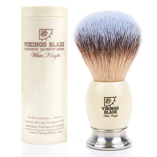 VIKINGS BLADE Luxury Shaving Brush, Heavy Weight Steel Base + Polished Faux Ivory Acrylic (White Knight) ()