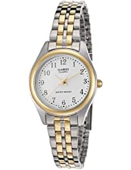 Casio Ltp-1129G-7Brdf Womens White Dial Two Tone Base Metal Watch