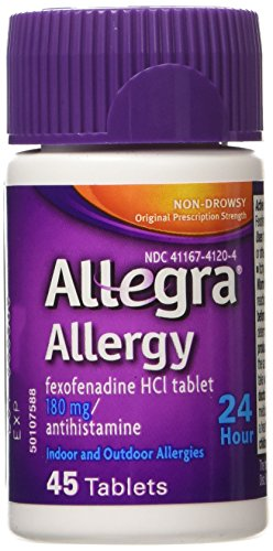 [알레그라] Allegra Allergy 180mg 24 Hr Relief Tablets, 45 Count (Pack of 2) [비염 알레르기]
