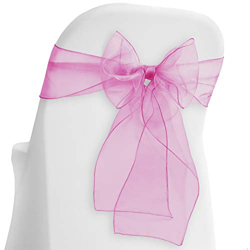 Lann's Linens - 10 Elegant Organza Wedding/Party Chair Cover Sashes/Bows - Ribbon Tie Back Sash - Fuchsia