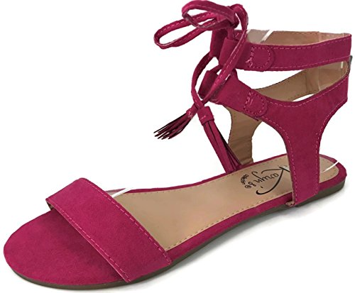 Karyn's Ankle Wrap Gladiator Strap Sandal with Lace up Tassle Tie Closure, Fuchsia 7 ()