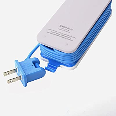 Mini USB Power Strip, 4 Port USB Charger Station 5V 2.1A-1A 21W Travel Charging Strip Outlets 5ft Extension Power Supply Cord with Universal Flat Wall Plug 100V-240V Input USB Power Sockets (Blue)