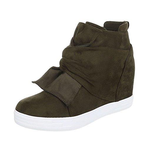cuna Design Plano Botines Zapatos tacon de Ital Botas Olive de para mujer qwtvt8g