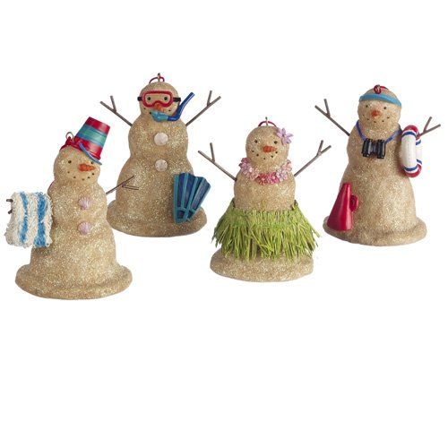 Beach Sand Snowman Christmas Ornaments Set of 4