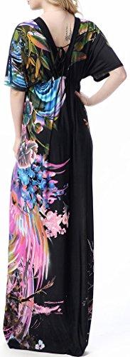 Wantdo Mujer Pareo Bohemio V Neck Vestido De Playa Talle Alto Talla Extra Negro 44-46