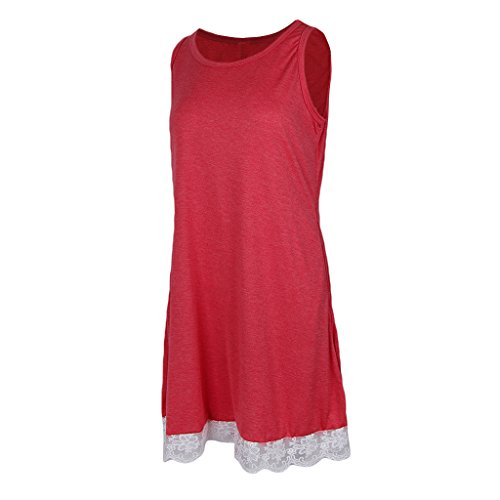 Flojo 50s Encaje D Abierta Midi Pleno Encaje V DOLITY Rojo Vestido Casual Cóctel Vintage Playa 4EEwATvq