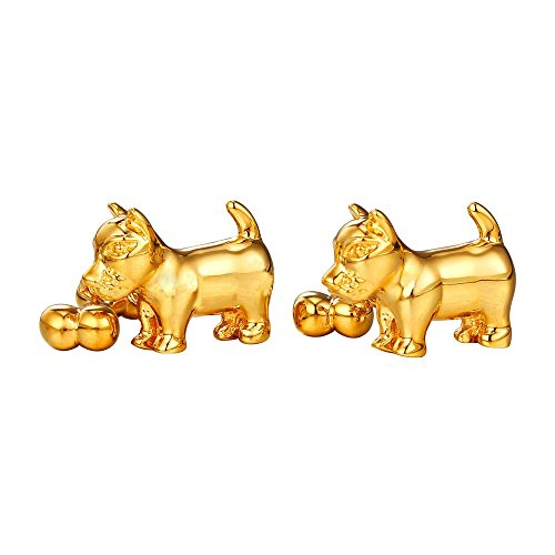 Design Mens Cufflinks (Modern Dog Biting Bone Design Cufflinks Gold Tone - 1 Pair (Gold))