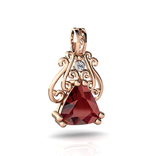 14kt Rose Gold Garnet and Diamond 8mm Trillion Antique Style Pendant