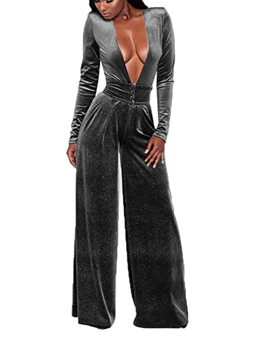 Pant Suit Velvet - Women's Sexy Deep V Neck High Waist Loose Pants Velvet One Piece Rompers Jumpsuits Long Sleeve Juniors Outfits Grey
