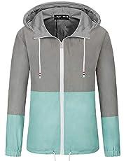 JACK SMITH Women's Waterproof Raincoat Outdoor Hooded Lightweight Jacket Windbreaker