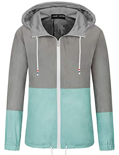 (JACK SMITH Teen Girls and Boys Fast Dry Raincoat Jacket (L,Gray+Blue 005))