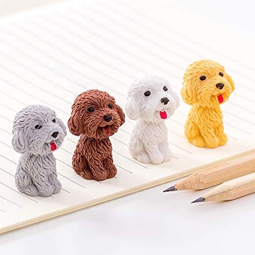 Max Corner 4 Pcs Dog Eraser for Cute Kawaii Novelty Erasable pencil Stationery Office Supplies Gifts