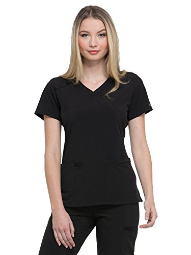 Dickies EDS Essentials by Women's Mock Wrap Solid Scrub Top Small Black - Mock Wrap V-neck Scrub Top