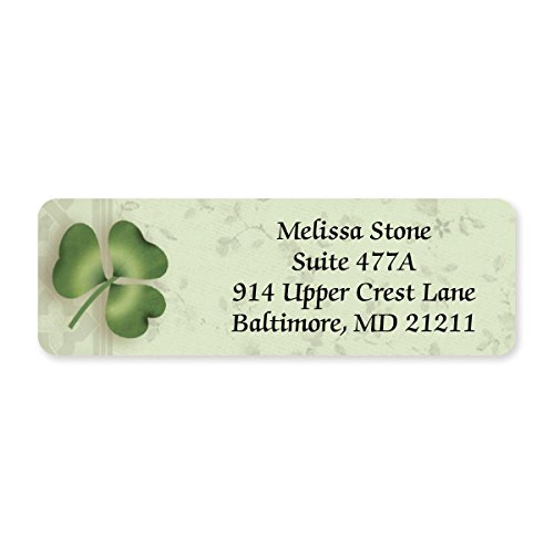 Lucky Clover Designer Rolled Address Labels - 250 Labels per Roll - 2 1/2 Inches Long x 3/4 Inch High - Elegant Plastic Dispenser Included