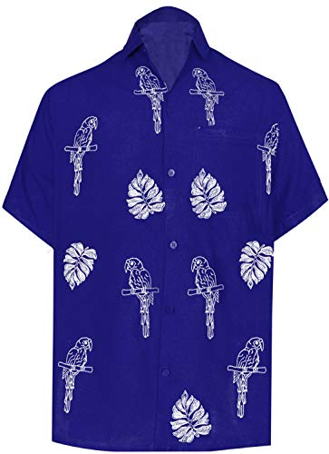 LA LEELA Rayon Embroidery Camp Party Shirt Royal Blue 11 Large | Chest 44