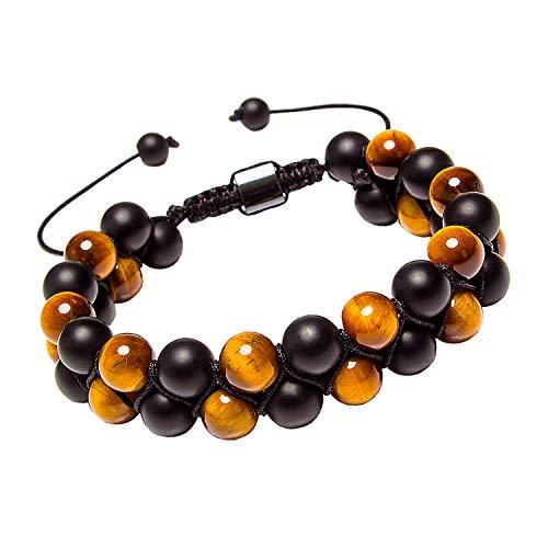 Matte Black Onyx Tiger Eye Stone Beads Double Layer Link Cord Bracelet Adjustable Woven Wrap for Women Men(Onyx,Tiger Eye) ()