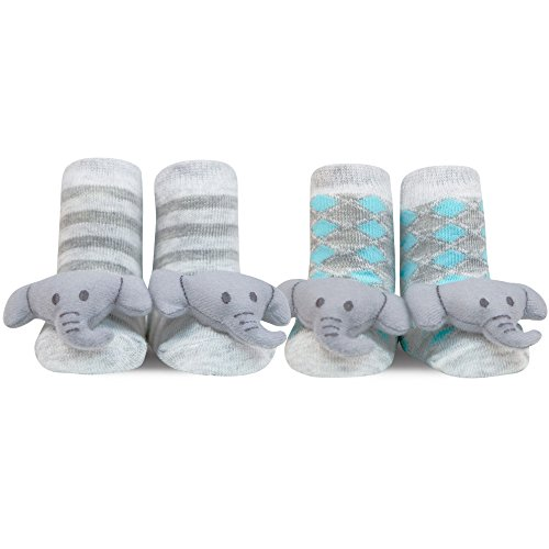 Waddle and Friends 2 Pairs Unisex Baby Sensory Rattle Socks Elephant Grey 0-12M