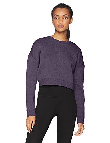 (Core 10 Women's  Motion Tech Fleece Cropped Sweatshirt, Plum Heather, S (4-6))
