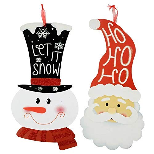 (Christmas Decorations Celebrate a Holiday Wood Signs Wall Decor Farmhouse Indoor Outdoor Country Yard Porch Plaque Winter Hanging with Cord Wooden Hanger Decore Snowman and Santa Claus Set of 2 Pack)