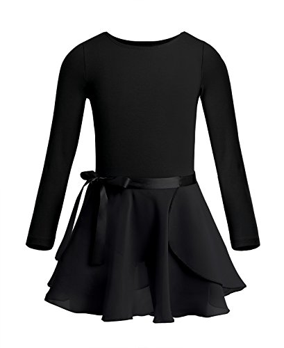 TiaoBug Girls Cotton Long Sleeves Ballet Dance Gymnastics Leotard With Chiffon Wrap Skirt Dancing Costume Black (Dance Team Costumes Competition)