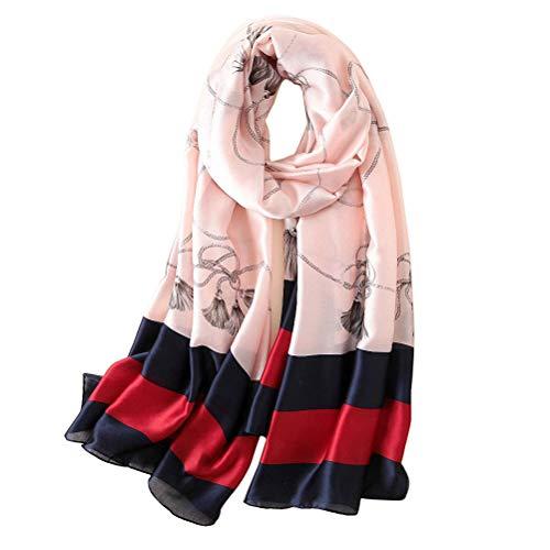 Women 100% Silk head hair Satin Scarf Long Fashion Lightweight Shawl travel (AD striped Pink)
