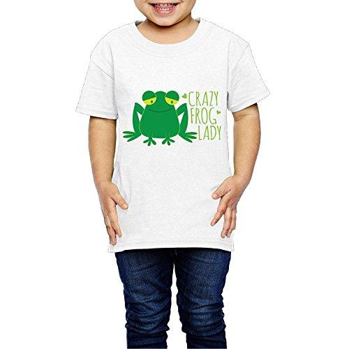 Crazy Frog Lady Crew Neck Short Sleeve Tee Shirt 2-6 Toddler ()