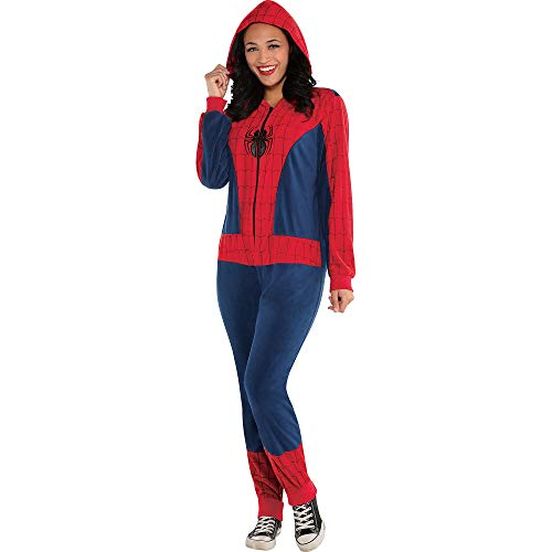 (Costumes USA Zipster Spider-Girl One-Piece Costume, Size Small/Medium, Featuring a Zipper and an Attached Web)