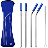 AINAAN Latest model Set of 4 Pieces Stainless Steel Straws,Reusable,With Cleaning Brush and Zipper Pouch Bag, 8.5 inch, Blue