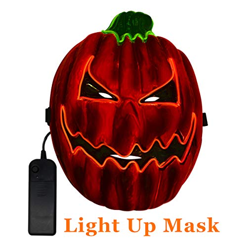 Scary Pumpkins For Halloween (TCJJ Halloween Scary Pumpkin Mask Cosplay Decorations Led Costume Mask EL Wire Light up for Halloween Festival Party)