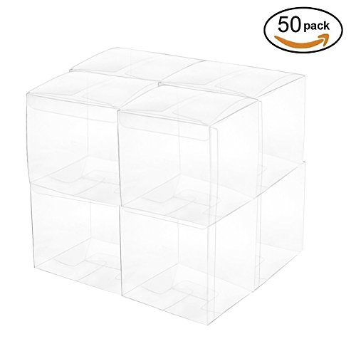 Clear Cube Box Transparent Candy Treat Box Plastic Gift Packing Box Wedding Party Favors Baby Shower Party Supplies 2x2x2 inch, 50pc