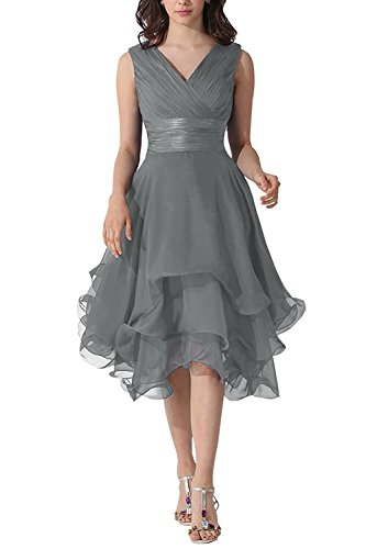 Belle Lady V-Neck Chiffon Mother Of The Bride Dress Bridesmaid Prom Party Dress Steel Grey US8