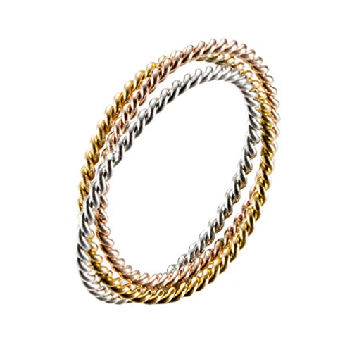 - IFUAQZ Stainless Steel Eternity Tri-Color Stacking Twist Rope Ring Interlocking Rolling Wedding Bands for Women Size 6