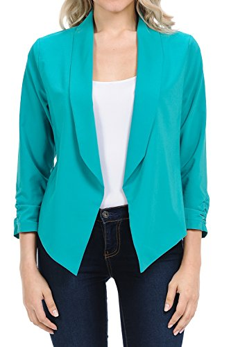 (Auliné Collection Womens Casual Lightweight 3/4 Sleeve Fitted Open Blazer Jade Small)