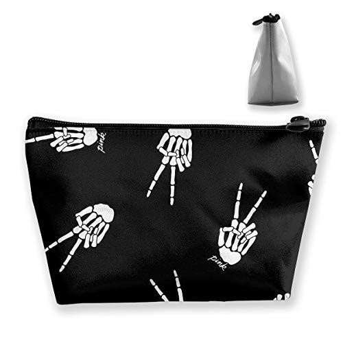 (Makeup Bag Cosmetic Skeleton Hand Skull Portable Cosmetic Bag Mobile Trapezoidal Storage Bag Travel Bags with)