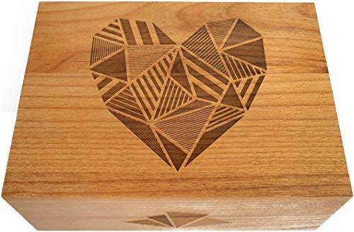 Baby Shower Patchwork - Patchwork Heart Laser Cut Wood Keepsake Box (Wedding or Anniversary Gift/Love / Baby Shower Gift/Heirloom / Decorative/Handmade)