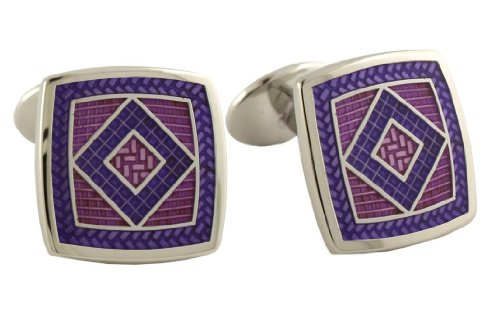 Designer Diamond Cufflinks (David Donahue Sterling Silver Square Diamond Cufflinks - Light Purple / Purple (H95539902))